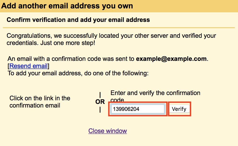 Add email account for sending verification code entered and Verify button highlighted.