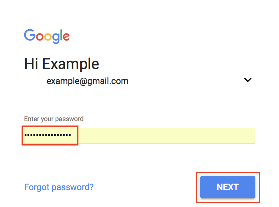 Gmail sign-in screen with password field and Next button highlighted.