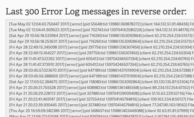 cPanel Error log view