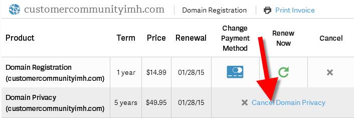 revamp cancel domain privacy