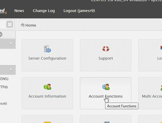Account Functions in WHM