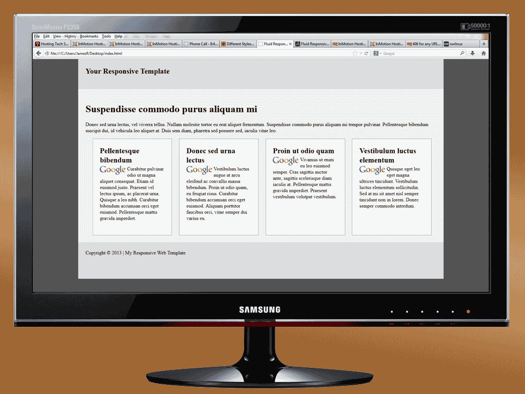 Responsive template on  desktop computer