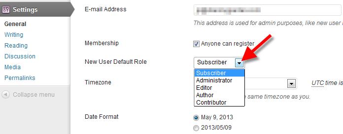 wordpress user registration default roles