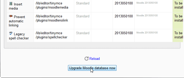 Database now Upgrading Moodle