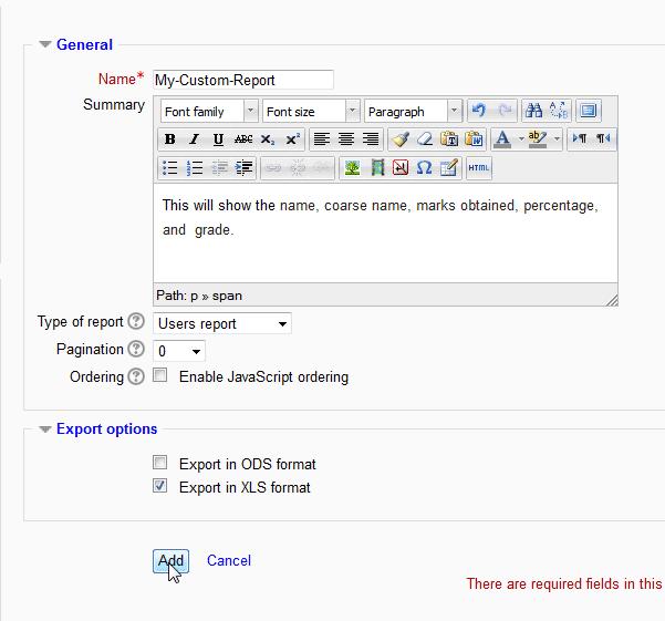 Option Moodle Configurable reports