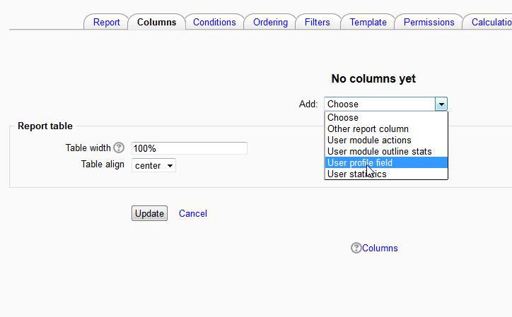 User Profile field Moodle Configurable reports