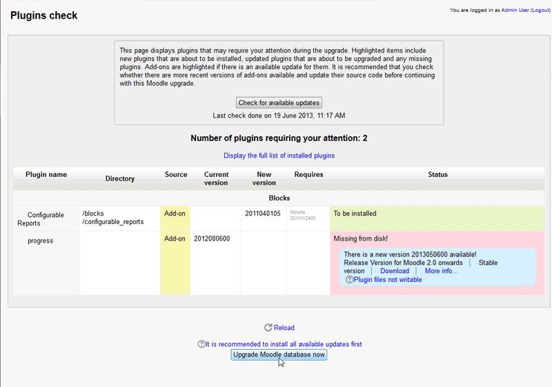 Moodle Configurable Block Report upgrade