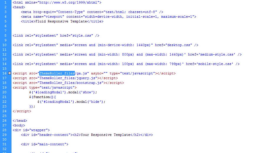 Paste teh scripti links Bootstrap Theme Roller