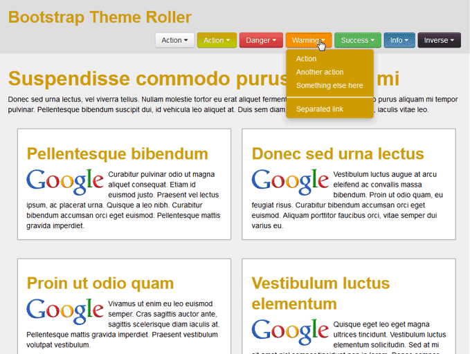 View os Menu Buttons in Bootstrap Theme Roller