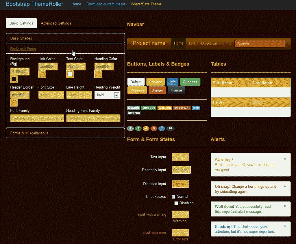 Bootstrap Theme Roller Custom styles