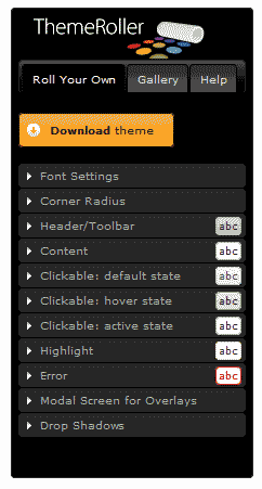 jQuery Theme Roller interface