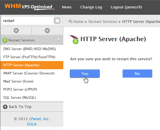 AMP VPS Restart services click restart