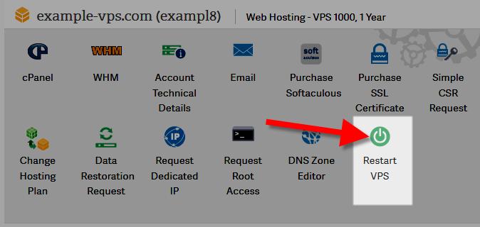AMP VPS Restart services click details