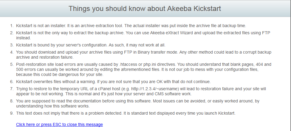 Akeeba Kickstart notes