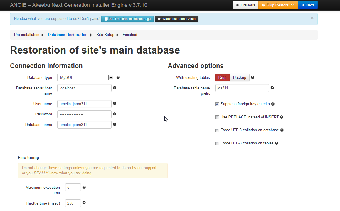 Database restoration settings