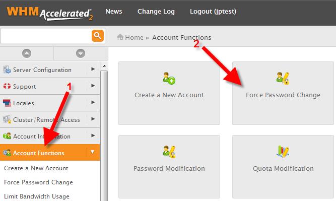 password modification in WHM