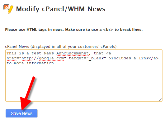 making a news announcement for cPanel in WHM.