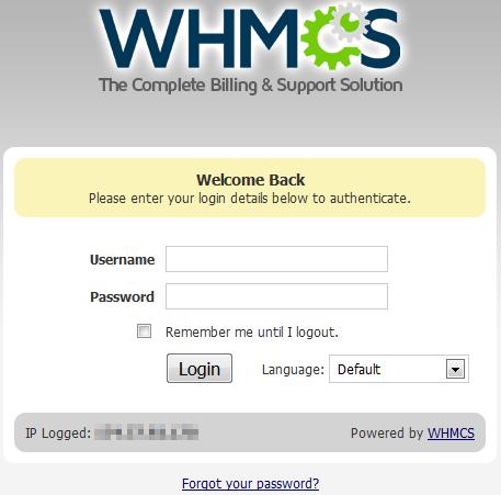 logging into whmcs
