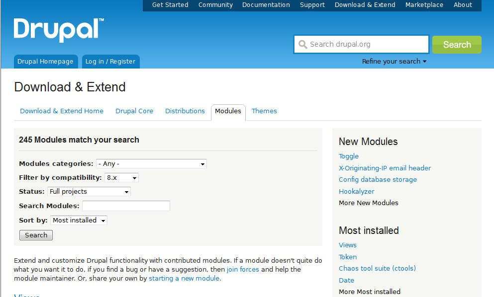 Popular drupal modules  Drupal 8 Ready Modules For Extended