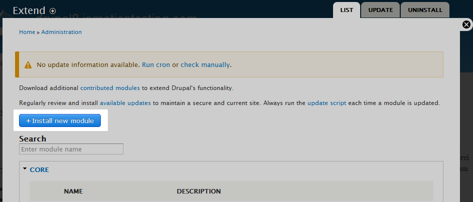click the Install new Module button