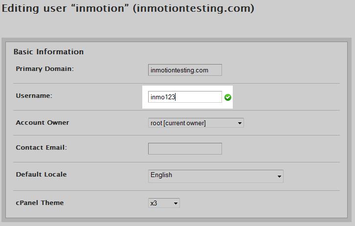 Edit the Username field