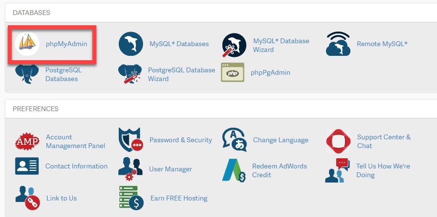 select phpmyadmin tool