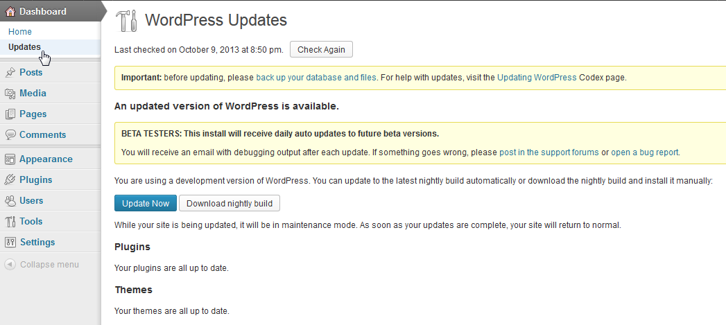 Automatic updates page