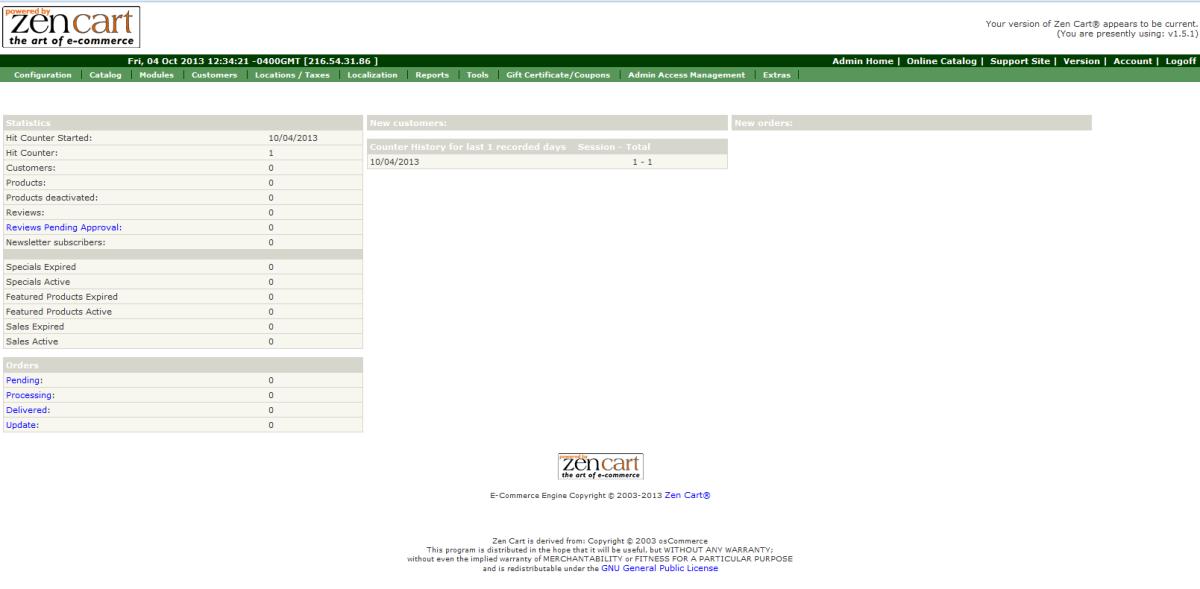 ZenCart admin dashboard