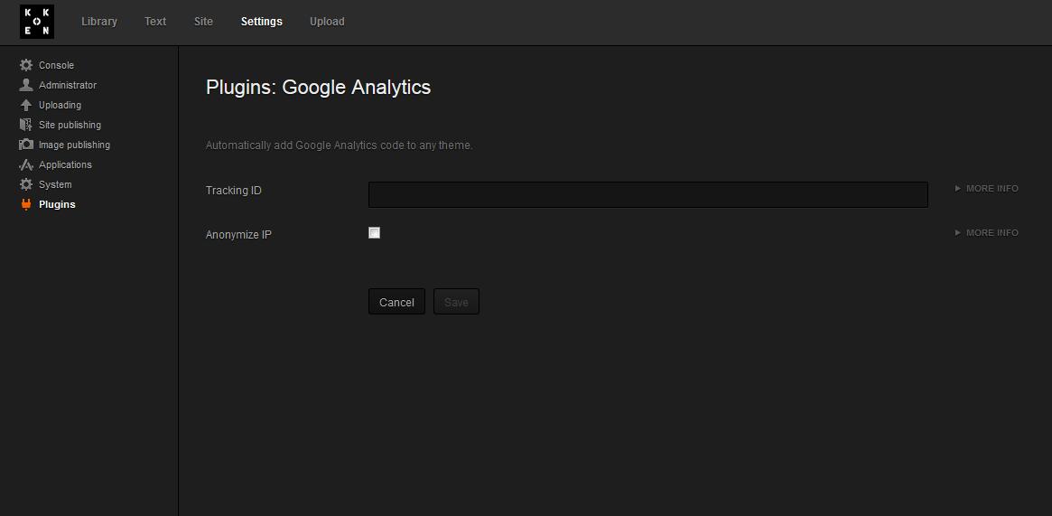 koken koken google analytics 5