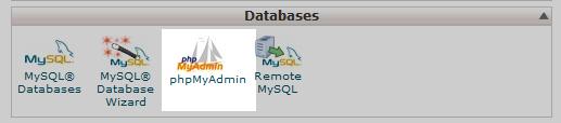click the phpmyadmin tool