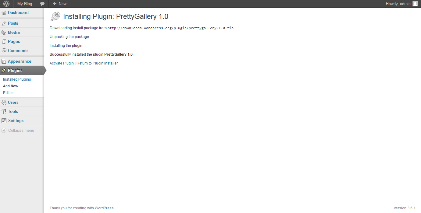 wordpress plugins wordpress prettygallery 2