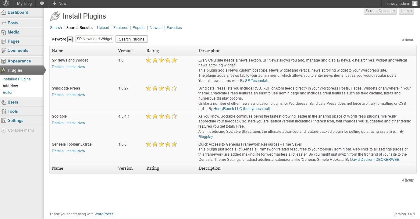 WordPress SP news plugin installation step 1