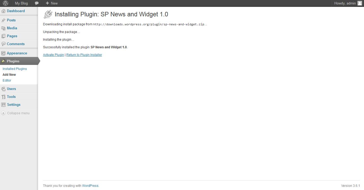 WordPress SP news plugin installation step 2