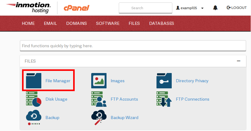 cpanel cPanel fileManager highlight