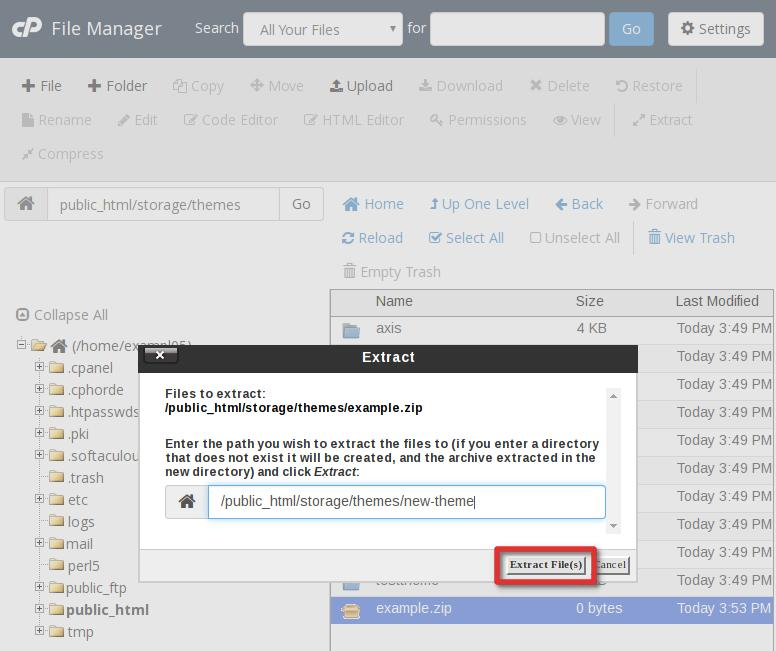 cpanel file manager cPanel file manager extract file popup highlight