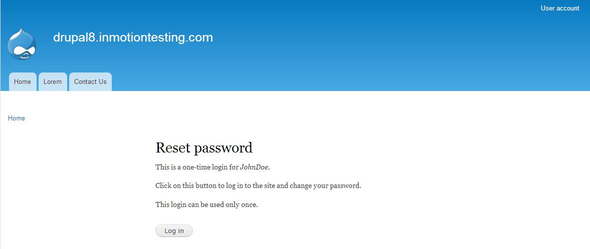 edu Drupal 8 101 reset password 4 one time login