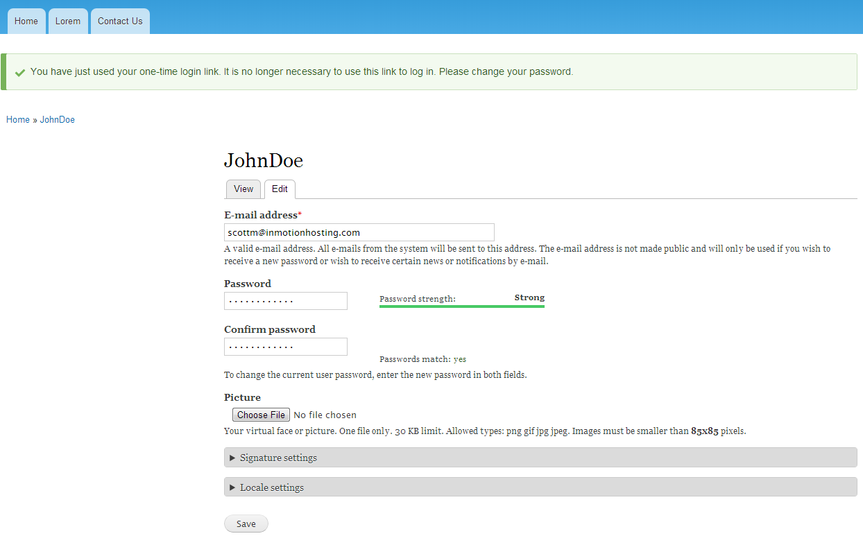edu Drupal 8 101 reset password 5 enter password