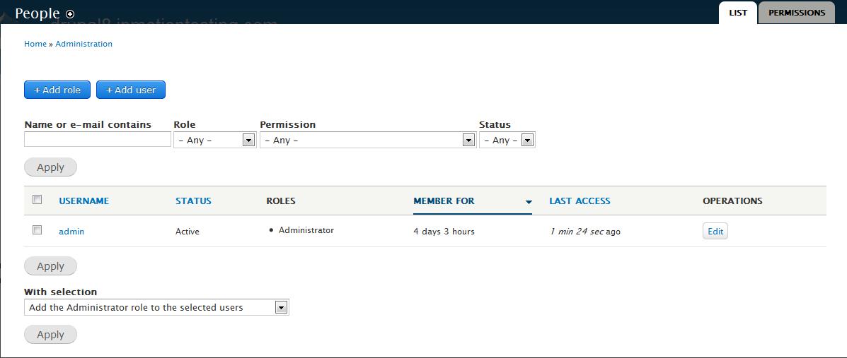 edu Drupal 8 106 create user account before