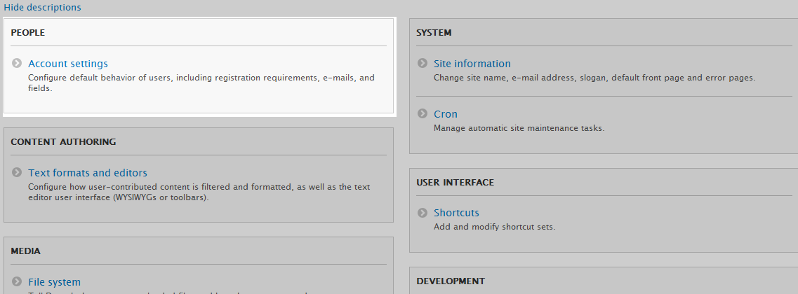 Click on Account Settings from the People section