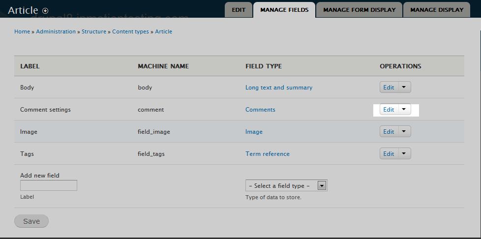 edu Drupal 8 107 adjust max comments 3 select edit