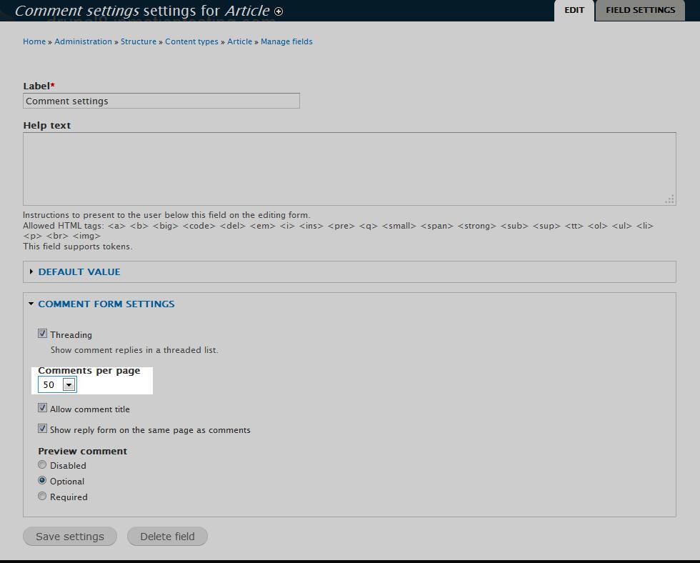 edu Drupal 8 107 adjust max comments 4 select comments per page