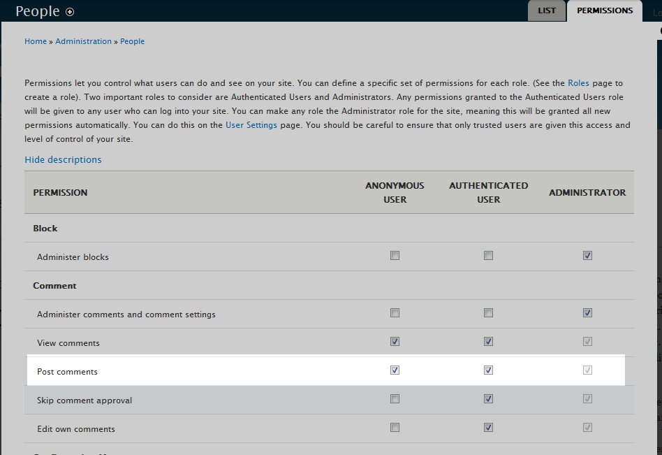 edu Drupal 8 107 allow visitors to comment 2 select anonymous