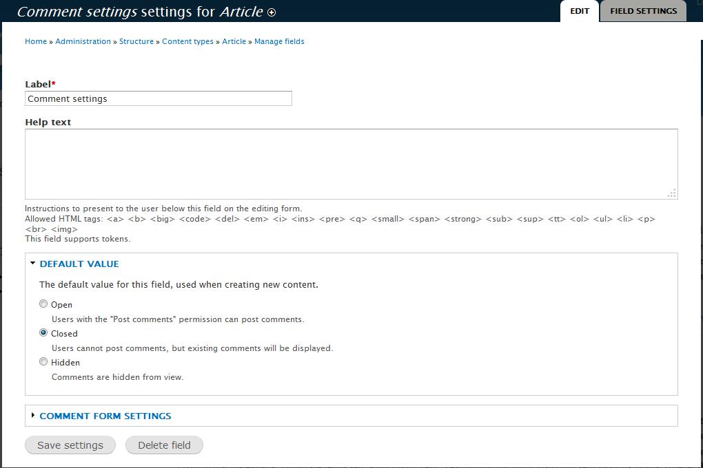 edu Drupal 8 107 disable article comment 4 set comments