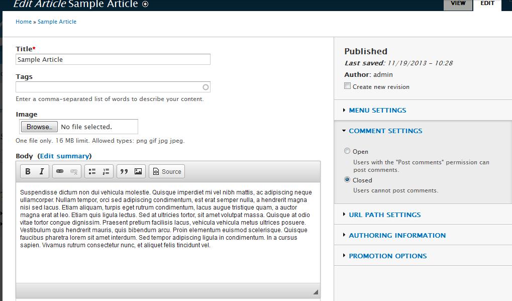 edu Drupal 8 107 disable node comment 2 close comments