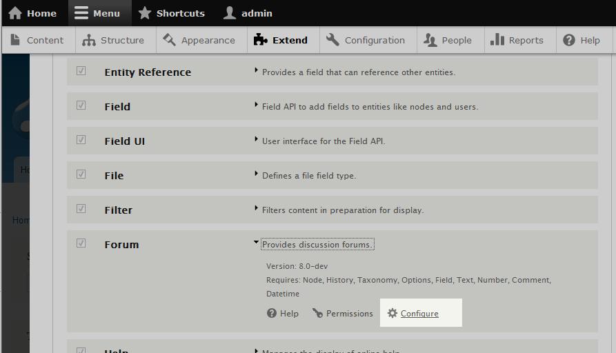 edu Drupal 8 202 configure forum 1 click configure