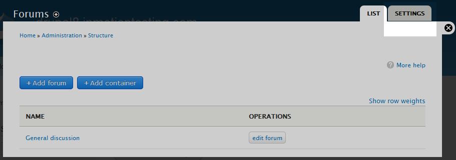 edu Drupal 8 202 configure forum 2 click settings tab