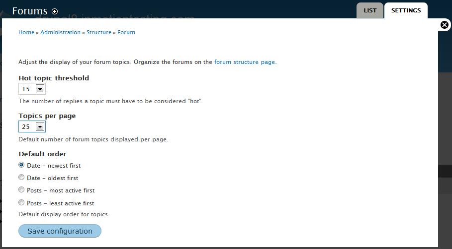 edu Drupal 8 202 configure forum 3 forum settings