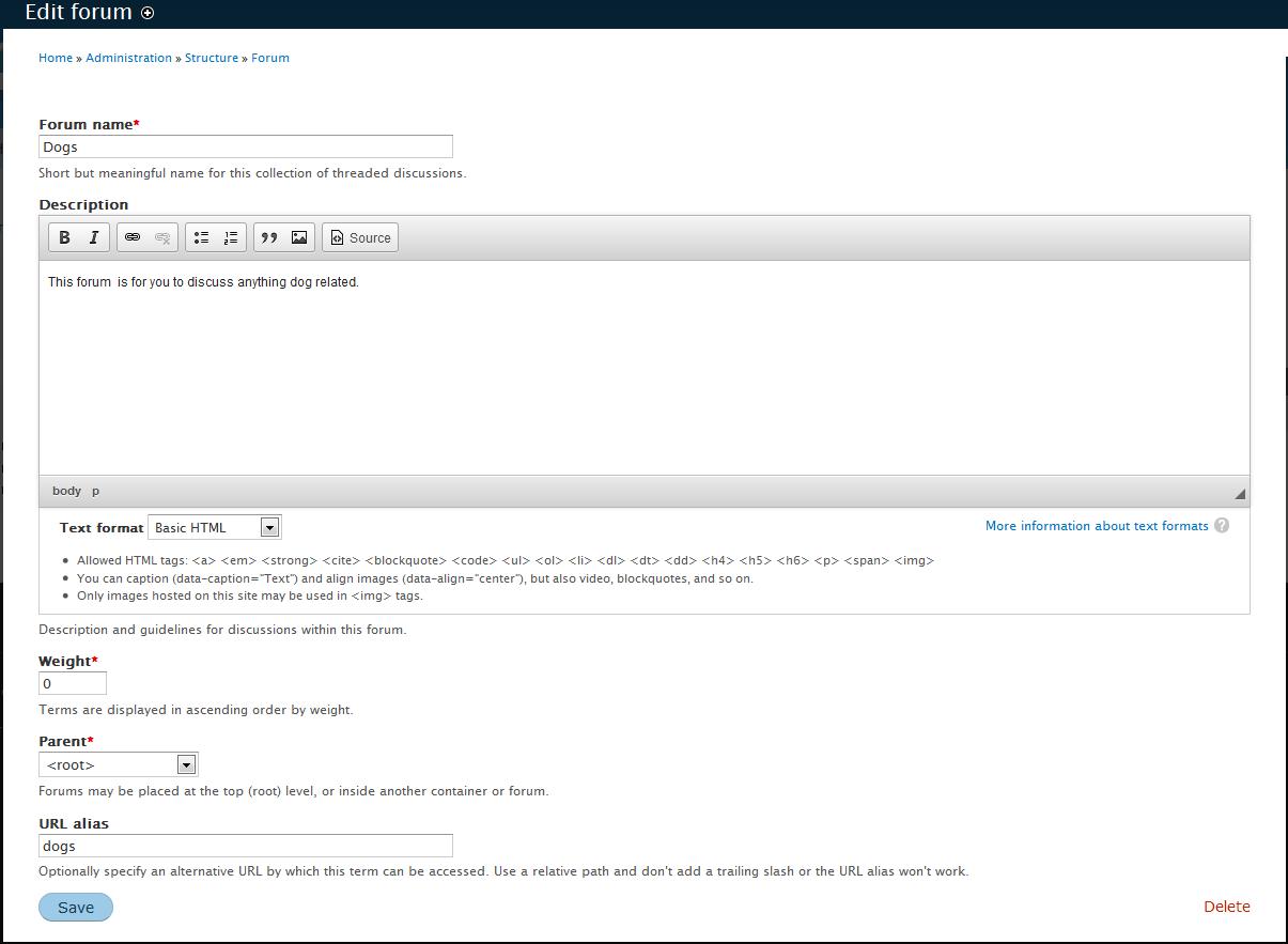 edu Drupal 8 202 create forum 2 forum settings
