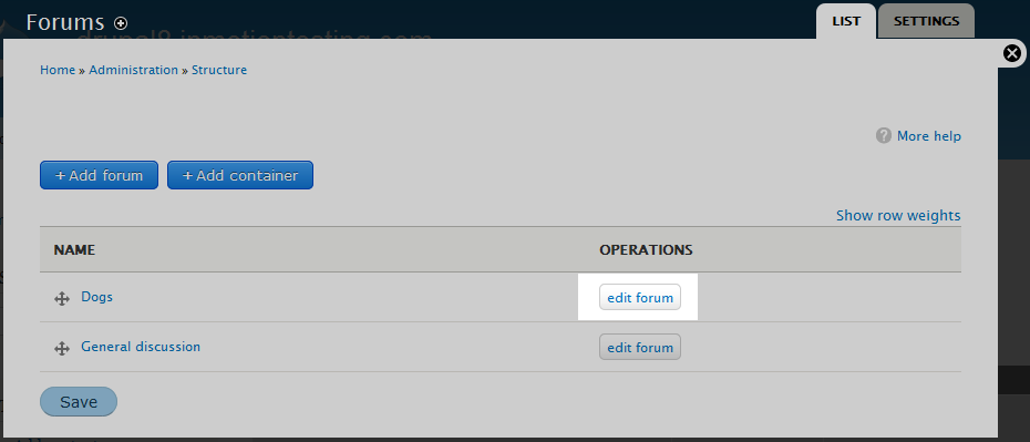 edu Drupal 8 202 delete forum 2 edit forum