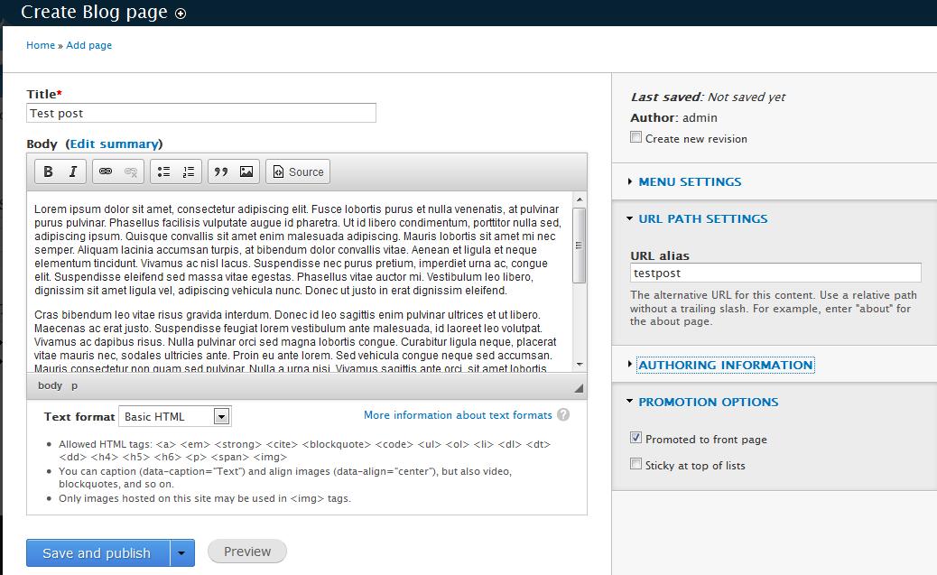 edu Drupal 8 204 create blog entry 3 enter post data